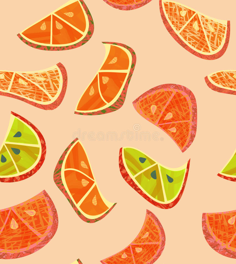 Abstract orange slices with texture on cream vector illustration