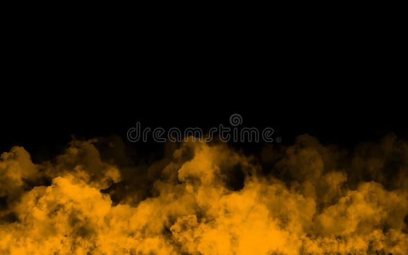 Abstract orange smoke cloud on black background vector illustration