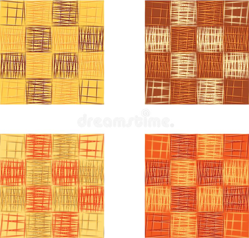Abstract orange squares seamless pattern set, texture background. vector illustration