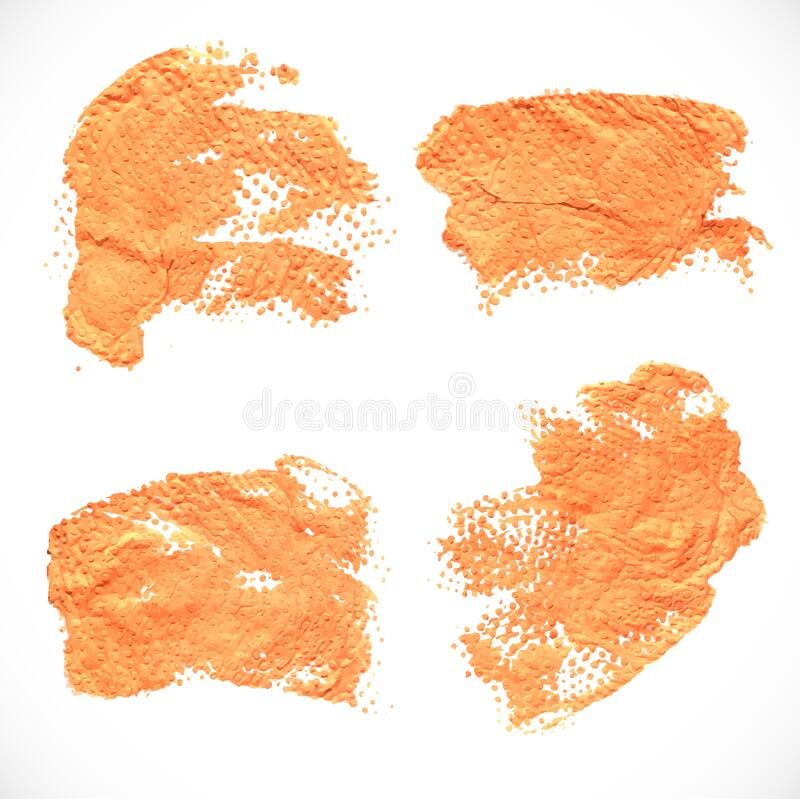 Abstract orange textural prints thick smears of paint on paper 3 stock photography