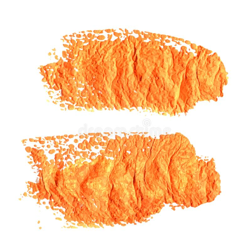 Abstract orange textural prints thick smears of paint on paper 2 royalty free stock image