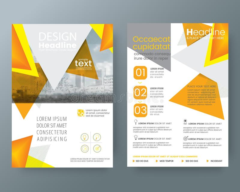 Abstract Orange triangle Brochure annual report cover Flyer Post. Er design Layout vector template in A4 size stock illustration