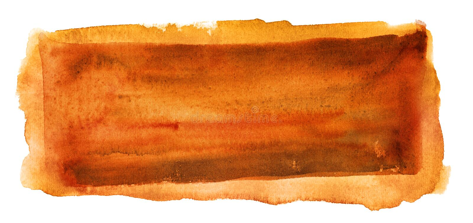 Abstract orange watercolor background isolated stock image