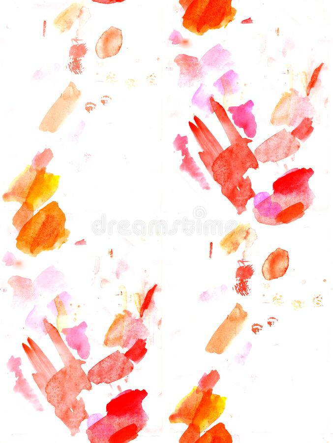Abstract orange watercolor seamless background .color shades by hand pained on the paper stock photos