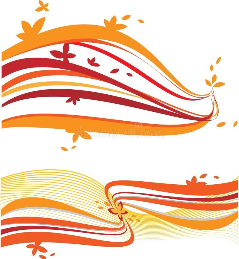 Abstract orange waves stock image