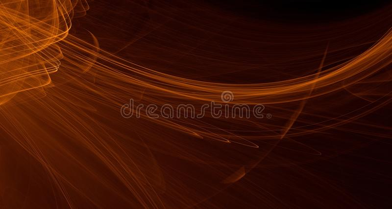 Abstract orange, yellow, gold light glows, beams, shapes on dark background vector illustration