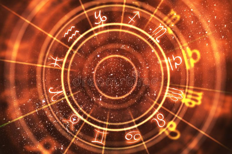 Abstract orange zodiac wheel background. Fortune telling and luck concept. 3D Rendering royalty free illustration