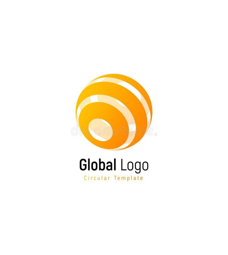 Abstract oranje of geel zonteken Samenvatting gestript vectorembleemmalplaatje, ronde wervelings eenvoudige logotype stock illustratie