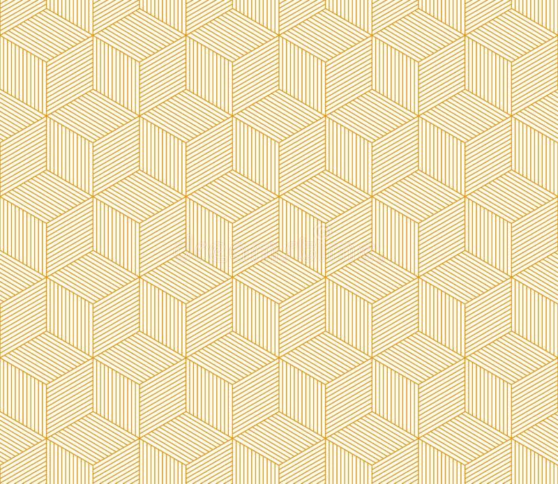 Abstract oranje gestreept 3d kubussen geometrisch naadloos patroon, vector royalty-vrije illustratie