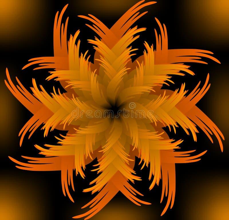 Abstract oranje vector scherp bloempatroon in fractal stijl op zwarte achtergrond, hoge tegenover elkaar stellende decoratieve te vector illustratie