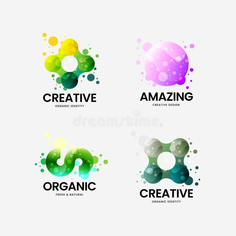 Abstract organisch vector collectief embleemteken Veelkleurige de illustratiereeks van het logotypeembleem Het ontwerpbundel van  stock illustratie