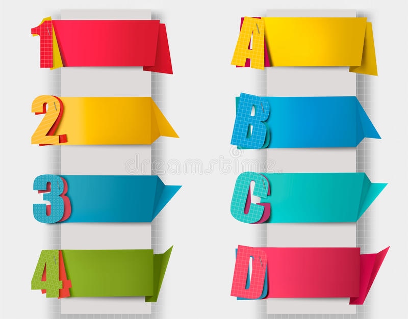 Download Abstract Origami Retro Banners With Litters And Numbers. Stock Illustration - Image: 29609985