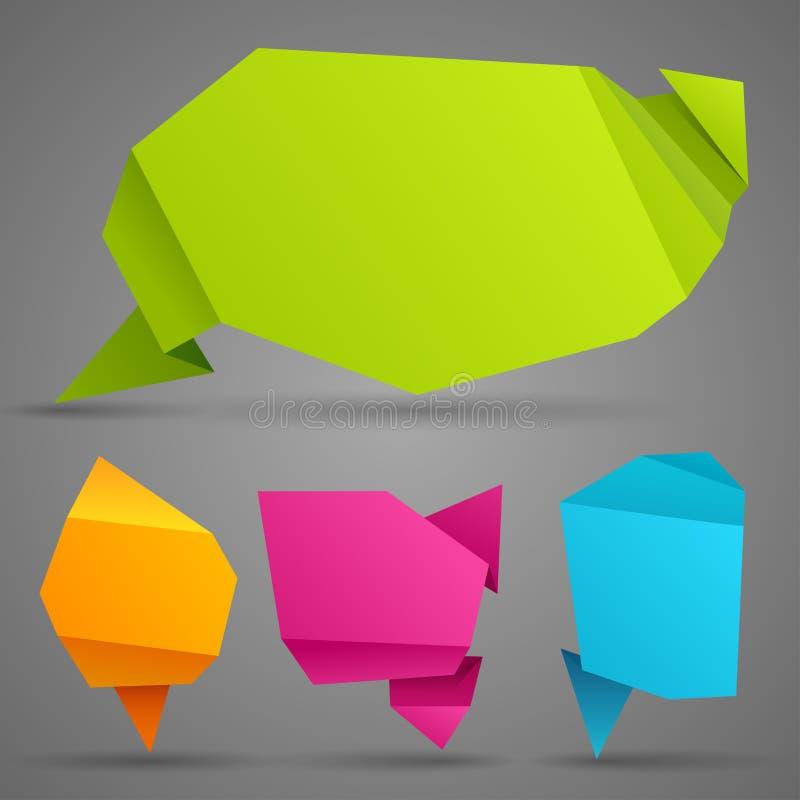 Abstract origami speech bubble. stock illustration