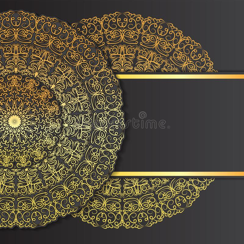 Abstract ornament mandala design invitations, cards, labels. Round logo and label template. Black. Vector image stock illustration