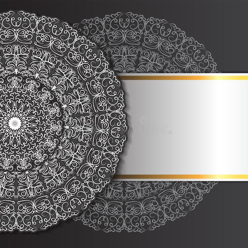 Abstract ornament mandala design invitations, cards, labels. Round logo and label template. Black-white. Vector image stock illustration
