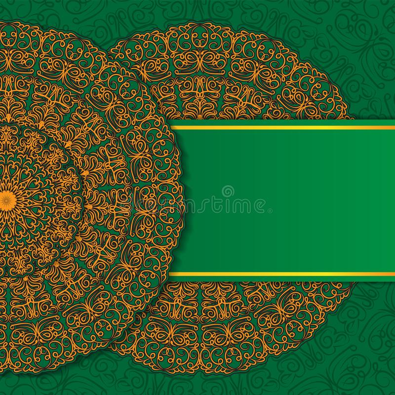 Abstract ornament mandala design invitations, cards, labels. Round logo and label template. Orange-green. Vector image royalty free illustration