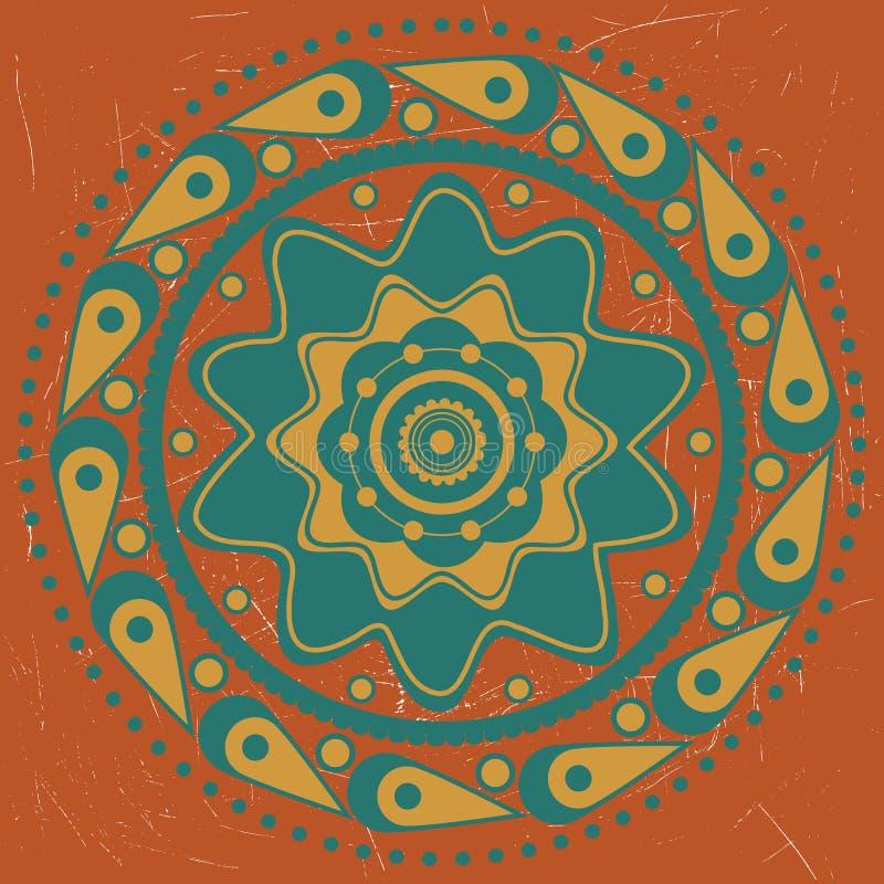 Turquoise ornament on orange background. Abstract ornament of turquoise and yellow color on orange background royalty free illustration