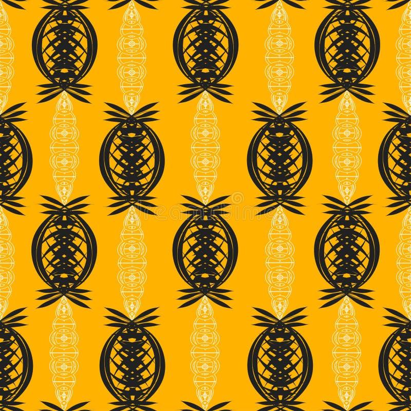 Abstract ornament van zwart-witte kleuren op oranje achtergrond stock illustratie