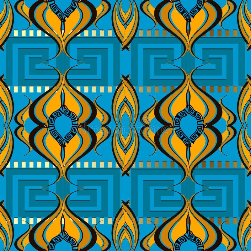 Abstract ornamental greek vector seamless border pattern. Light. Blue patterned vintage background. Geometric shapes, lines, squares. Decorative modern greek vector illustration