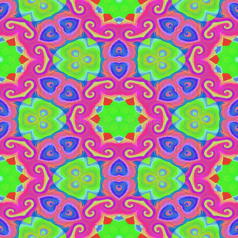 Abstract ornamental oriental arabesque pink blue green carpeting royalty free stock photo
