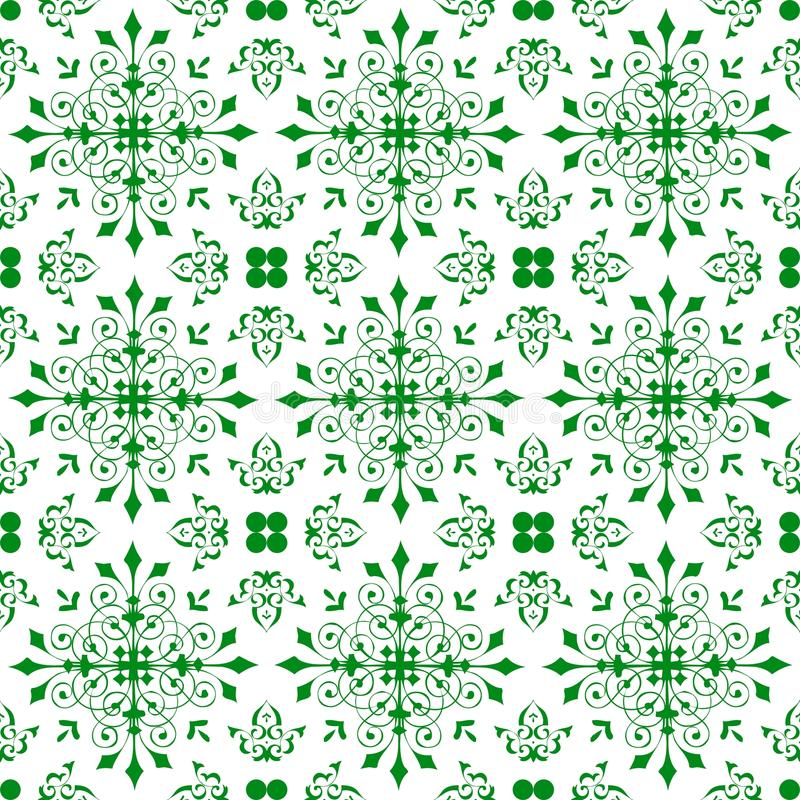 Abstract Ornamental Oriental Floral Seamless Royal Vintage Arabic Chinese Transparent Green Pattern Texture Wallpaper. Oriental Ornamental Abstract Floral royalty free illustration