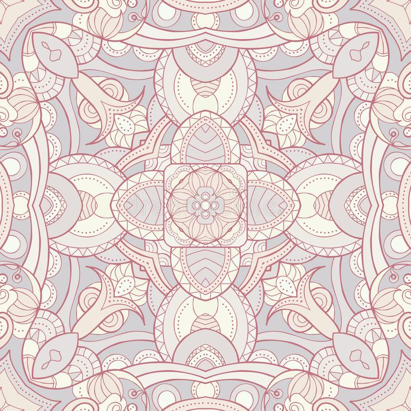 Abstract ornamental seamless pattern in light colors, kaleidoscope, mandala. Texture for wallpapers, fabric, wrap, web page. Backgrounds, vector illustration stock illustration