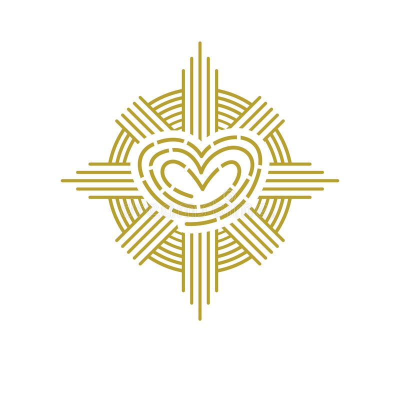 Abstract ornate heart simple graphic symbol. Vector Illustration of corporate beauty or spa saloon icon design vector illustration