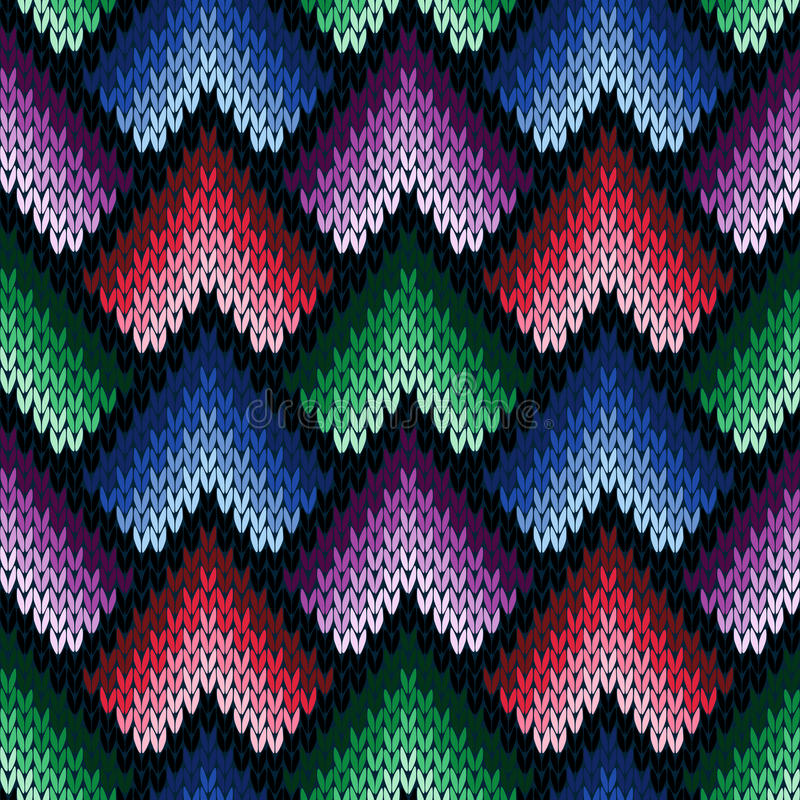 Abstract ornate knitting seamless pattern in various colors stock illustration