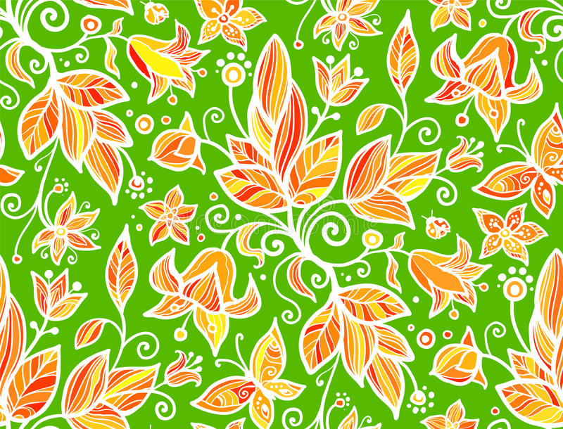 Abstract Ornate Shining Flower Seamless Pattern Stock Photo