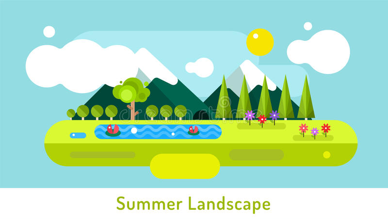 Abstract outdoor summer landscape. Trees and royalty free illustration