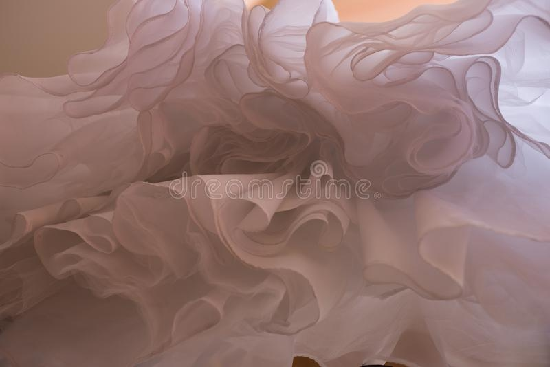 Abstract overhang wedding dress. unusual upward angle view stock photography