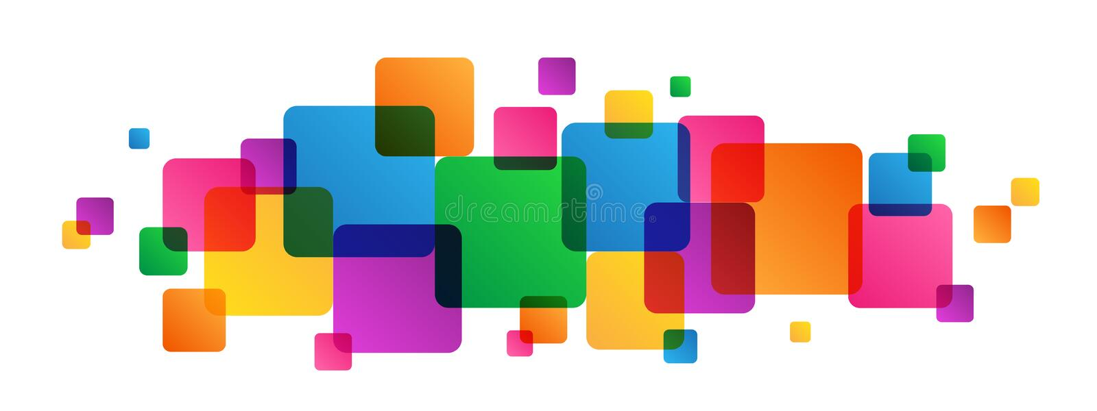 Abstract overlapping colorful squares background vector illustration