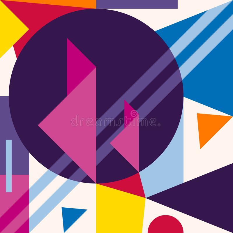 Abstract overlapping geometric shapes background. Composition 7 stock illustration