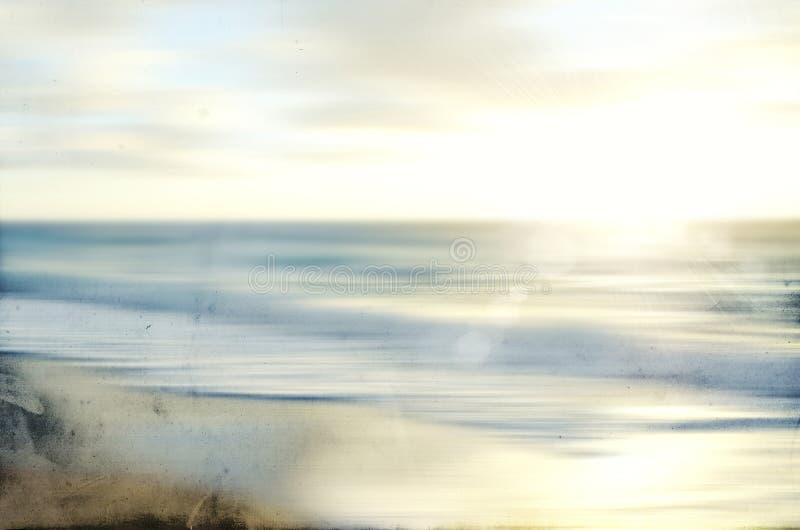Abstract overzees zeegezicht met oud vaag document het filteren van motie stock afbeelding
