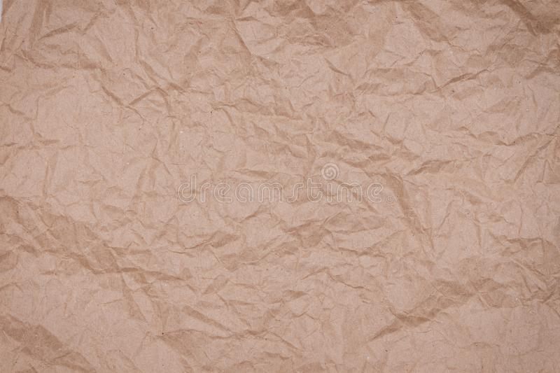 Abstract packaging craft wrinkled paper texture, background royalty free stock photo