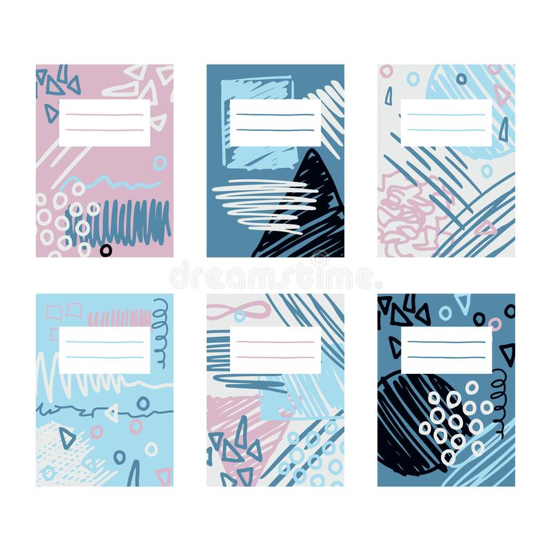Abstract pages template design for notebooks and sketchpad. Scribble vector collage. Hand drawn illustration with scrawl stock illustration