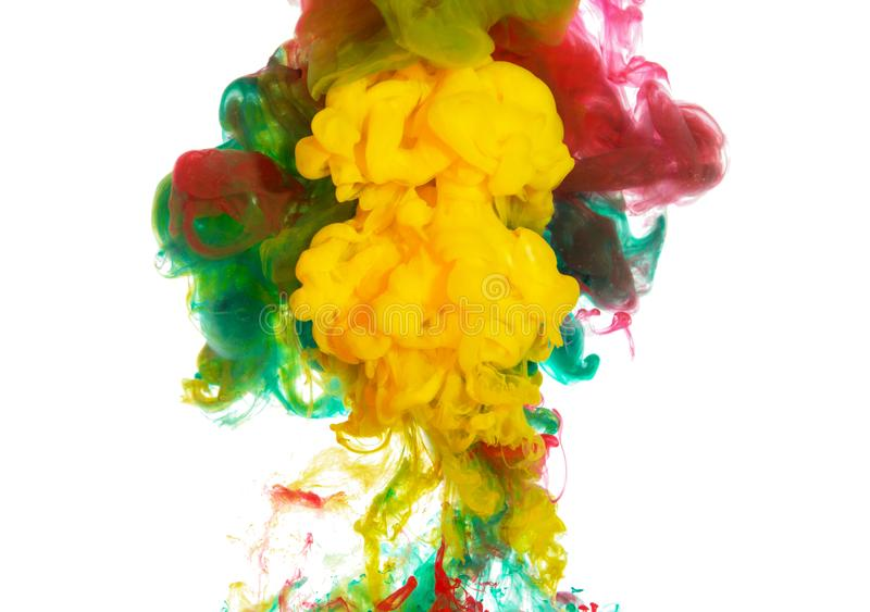 Abstract paint background of mixing colors ink splash in the water isolated on white background royalty free illustration