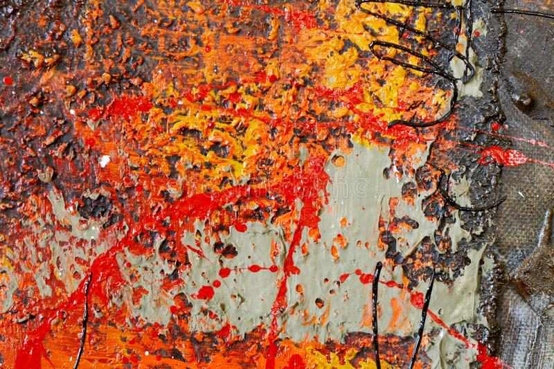 Abstract paint background. Red, orange, multi layered, painting background. stock photos