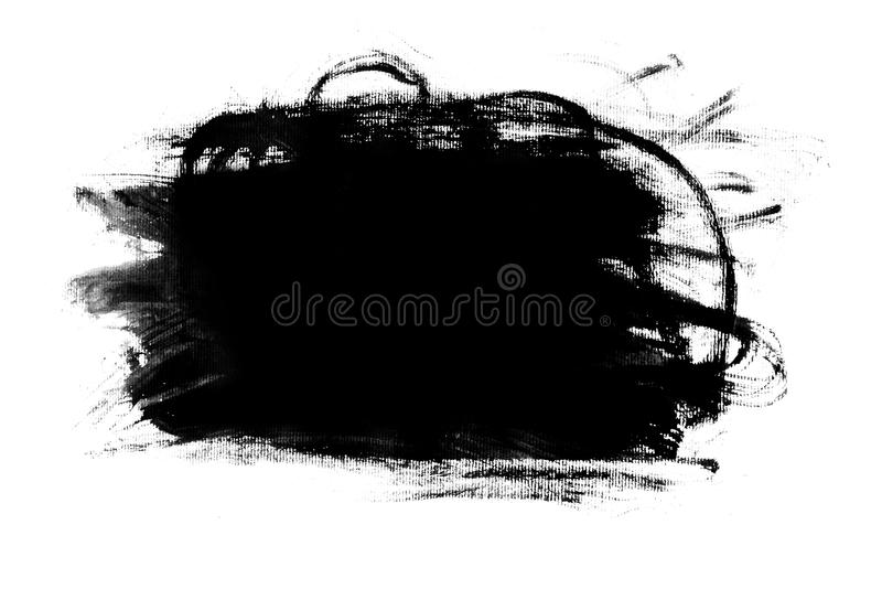 Abstract paint brush stroke. Black brush stroke over textured white paper background royalty free stock photos