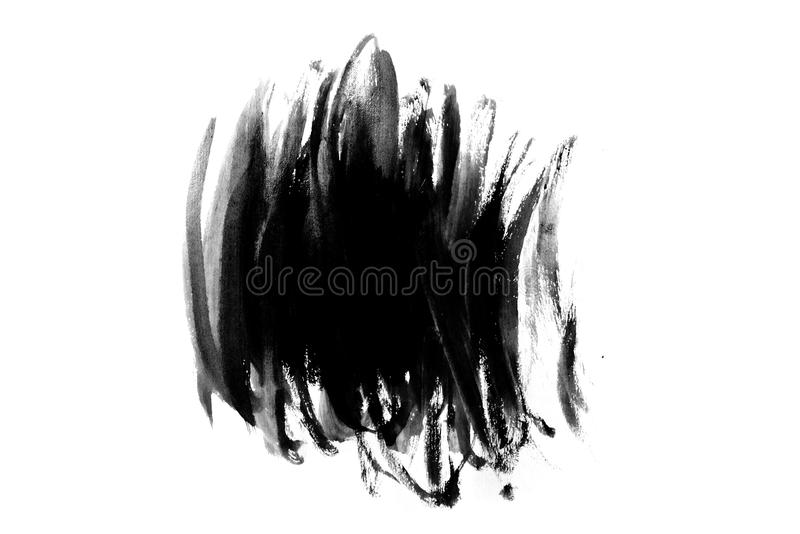 Abstract paint brush stroke. Black brush stroke over textured white paper background royalty free stock photography