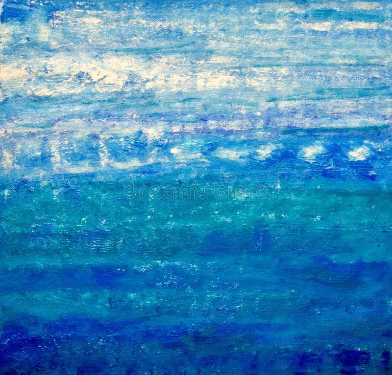 ABSTRACT PAINT CERULEAN OCEAN PAINTING stock photo