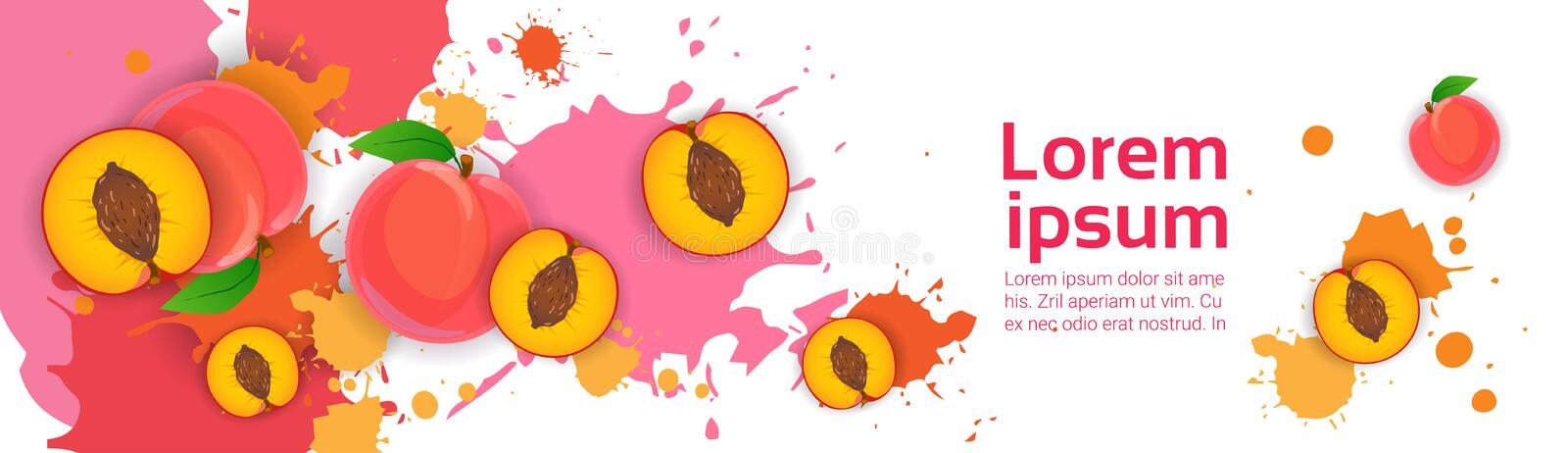Abstract Paint Splash And Fruits Peach Set Over White Background For Copy Space And Text royalty free illustration