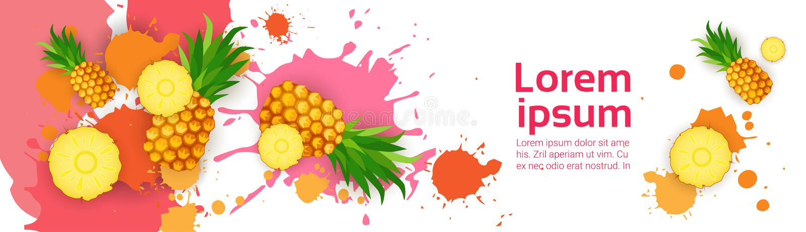 Abstract Paint Splash And Fruits Pineapple Set Over White Background For Copy Space And Text stock illustration