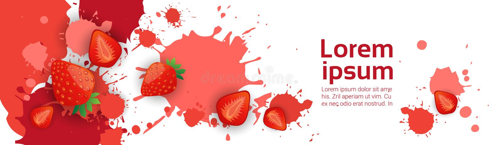 Abstract Paint Splash And Fruits Strawberry Set Over White Background For Copy Space And Text stock illustration