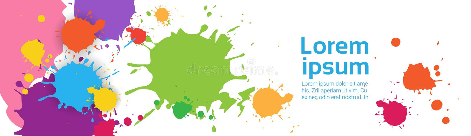 Abstract Paint Splash Set Over White Background For Copy Space And Text. Flat Vector Illustration vector illustration