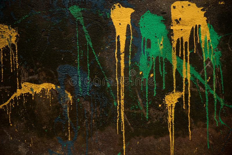 Abstract Paint On Wall. Abstract Different Color Paint On Grunge Wall royalty free stock photos
