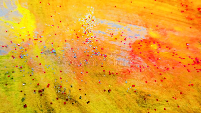 Abstract Painted background. Colorful Fluid effects. Grunge patches scattered on background. Good for :Wall Art, Cards, decor. Grungy artwork for creative stock photo