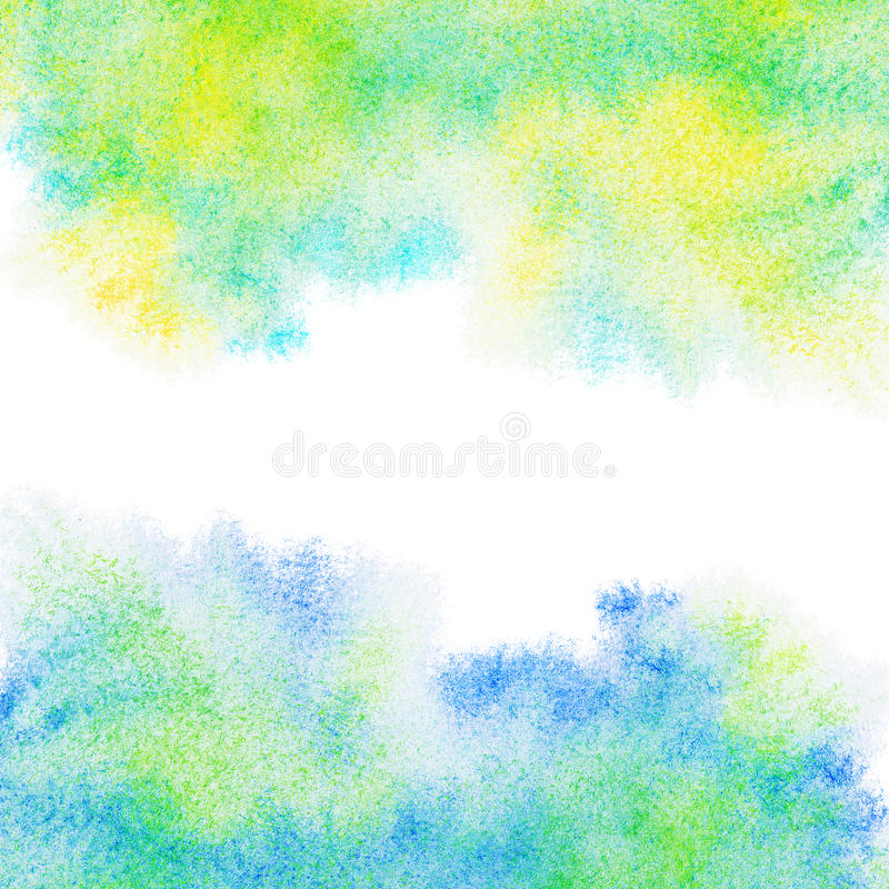 Abstract painted blue, green, yellow watercolor background. royalty free stock photo