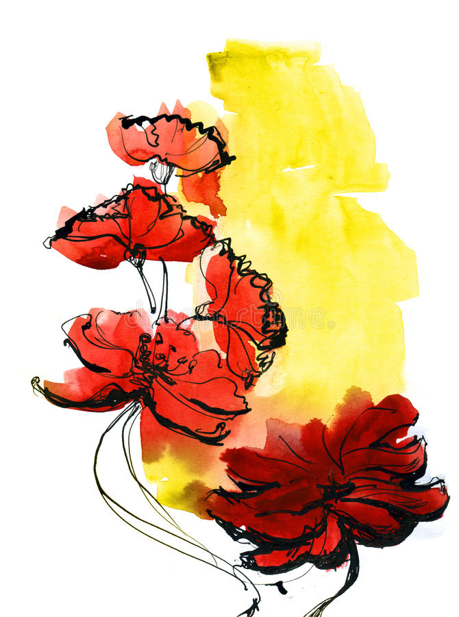 Download Abstract Painted Floral Background Stock Illustration - Image: 10573340