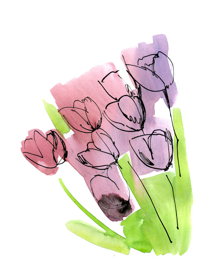 Abstract painted floral background stock illustration